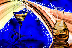 De glazen van Champagne met de achtergrond van de neonregenboog Royalty-vrije Stock Fotografie