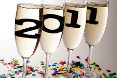 De glazen van Champagne met mousserende wijn in 2011 V5 Stock Foto