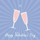De glazen van Champagne zonnestraal De gelukkige kaart van de valentijnskaartendag Nam de kleurenachtergrond van de kwartsserenit Royalty-vrije Stock Afbeeldingen