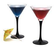 De glazen van cocktails die op witte achtergrond worden geïsoleerd9 royalty-vrije stock afbeeldingen