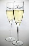 De glazen van de bruid en van de bruidegom Royalty-vrije Stock Foto