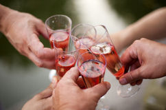 De fles, het glas en de opener van de wijn royalty-vrije stock foto
