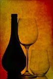 De glazen van de fles en van de wijn Royalty-vrije Stock Fotografie