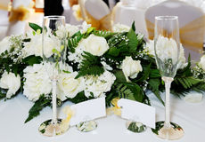 De glazen van de huwelijkschampagne Royalty-vrije Stock Foto's
