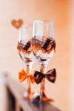 De glazen van de huwelijkschampagne Stock Afbeeldingen