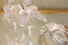 De glazen van de huwelijkschampagne Stock Foto