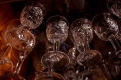 De glazen van de kristalwijn Stock Fotografie