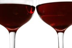 De Glazen van de rode Wijn stock foto's