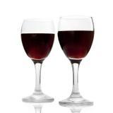 De glazen van de wijn die op wit worden geïsoleerde Stock Afbeeldingen