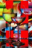 De glazen van de wijn met abstracte achtergrond stock fotografie