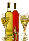 De glazen van de wijn met rode en witte wijnflessen Royalty-vrije Stock Fotografie