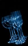 De glazen van de wijnstok en van de champagne stock afbeeldingen