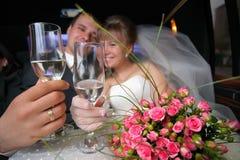De glazen van het huwelijk Stock Foto's