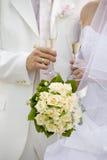 De glazen van het huwelijk met champagne Royalty-vrije Stock Foto