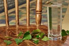 De glazen van van de het sapdrank van het berksap de berktakken op houten lijst gezonde vitamine als achtergrond springen nuttige Royalty-vrije Stock Afbeeldingen
