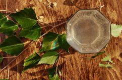 De glazen van van de het sapdrank van het berksap de berktakken op houten lijst gezonde vitamine als achtergrond springen nuttige Royalty-vrije Stock Fotografie