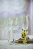 De glazen zijn op de lijst Stock Foto's