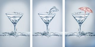 De Glazenvariaties van watermartini Stock Fotografie