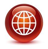 De glazige bruine ronde knoop van het wereldpictogram royalty-vrije illustratie
