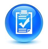De glazige cyaan blauwe ronde knoop van het controlelijstpictogram royalty-vrije illustratie