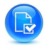 De glazige cyaan blauwe ronde knoop van het controlelijstpictogram Royalty-vrije Stock Foto