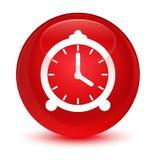 De glazige rode ronde knoop van het wekkerpictogram Stock Afbeelding