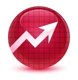 De glazige roze ronde knoop van het bedrijfsgrafiekpictogram Stock Foto