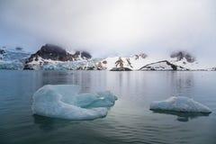De gletsjer daalt in de Golf van Spitsbergen-Archipel Stock Foto's
