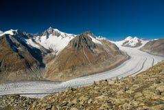 De gletsjer van Aletsch stock afbeeldingen