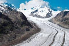 De Gletsjer van Aletsch in de Europeaan stock foto