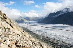De Gletsjer van Aletsch, Zwitserland Stock Foto's