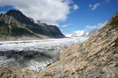 De Gletsjer van Aletsch, Zwitserland Stock Foto