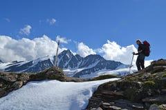 De Gletsjergletsjer Pasterze van bergen Oostenrijkse Alpen Stock Foto's