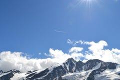 De Gletsjergletsjer Pasterze van bergen Oostenrijkse Alpen Stock Foto