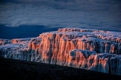 De gletsjers bij zonsopgang bij de bovenkant van Onderstel Kilimanjaro stock fotografie