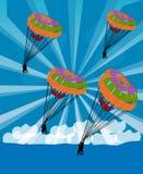De glijdende beweging van de parachutist in de hemel Stock Afbeelding