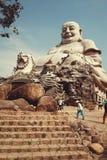 De Glimlach van Boedha in AnGiang Vietnam Stock Foto's