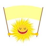 De glimlach van de beeldverhaalzon De grappige Gele Zon houdt een teken voor tekst Stock Foto's