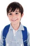De glimlach van de close-up van een leuke jonge jongen stock foto