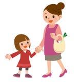 De glimlach van de ouder en het kind houden handen vector illustratie