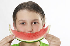 De Glimlach van de watermeloen stock foto