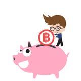 De glimlach van het spaarvarken en gelukkig, zakenman die geldmuntstuk, muntbaht zetten Stock Afbeeldingen