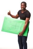 De glimlachende Afrikaanse man als zwarte zakenman met Stock Foto