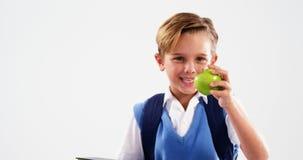 De de glimlachende boeken en appel van de schooljongenholding stock footage