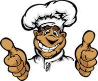De glimlachende Chef-kok van de Keuken van het Beeldverhaal met Hoed Stock Afbeeldingen