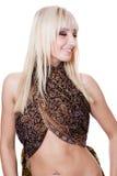 De glimlachende danser van de blondebuik Royalty-vrije Stock Foto's