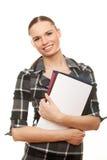 De glimlachende documenten van de bedrijfsvrouwenholding stock foto's
