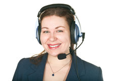 De glimlachende jonge vrouw van de vraagexploitant Stock Fotografie