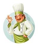 De glimlachende kok toont o.k. Stock Foto