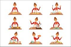 De glimlachende kok van de vrouwenchef-kok in witte schort die en een verscheidenheid van schotels, reeks bakken voorbereiden van vector illustratie